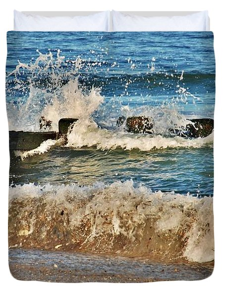 Surf Stir - Jersey Shore Duvet Cover by Angie Tirado