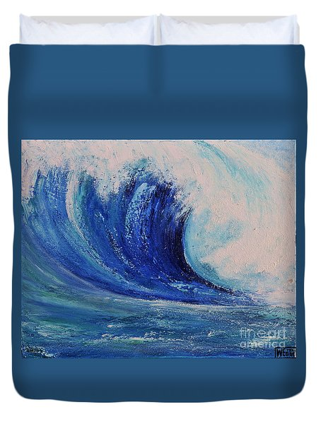 Duvet Cover featuring the painting Surf by Teresa Wegrzyn