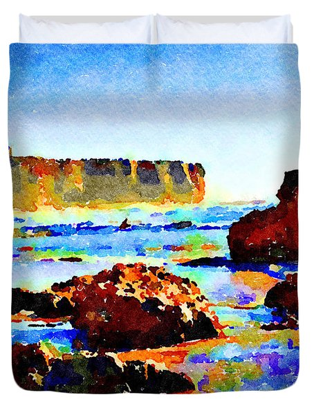 Duvet Cover featuring the painting Surf The Headlands by Angela Treat Lyon