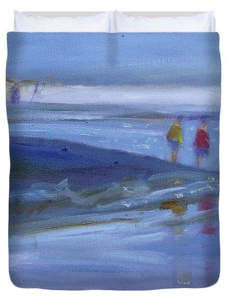 Surf Walk Ocean Beach Seashore Duvet Cover