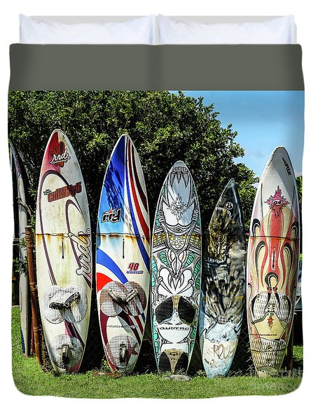 Surfboard Hana Maui Hawaii Duvet Cover