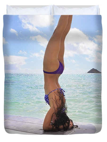 Surfboard Headstand Duvet Cover by Tomas del Amo - Printscapes