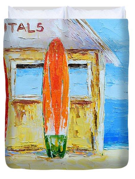 Surf Board Rental Shack At The Beach - Modern Impressionist Palette Knife Work Duvet Cover