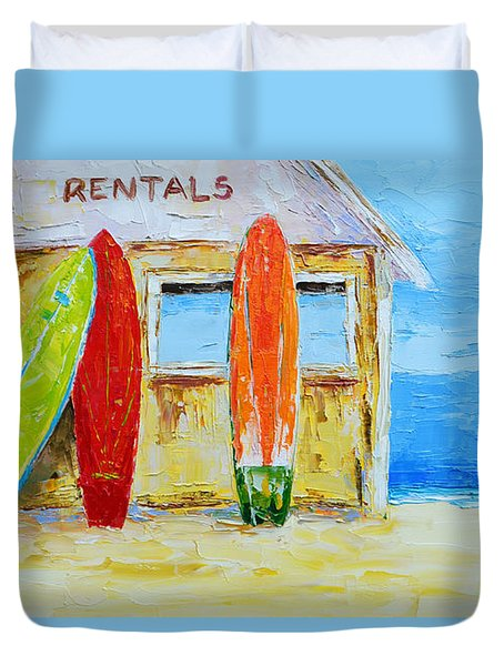 Surf Board Rental Shack At The Beach - Modern Impressionist Palette Knife Work Duvet Cover