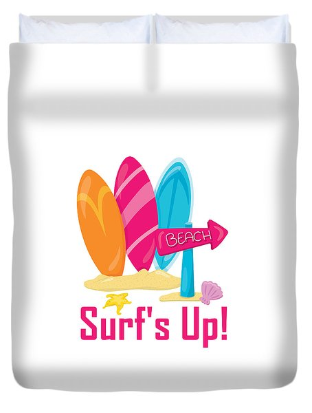 Surfer Art - Surf's Up To The Beach With Surfboards Duvet Cover