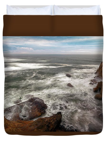 Surfer At Cape Kiwanda In Pacific City Duvet Cover by David Gn