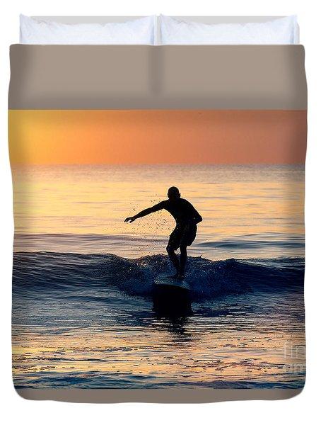 Surfer At Dusk Duvet Cover