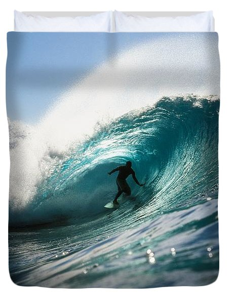 Surfer At Pipeline Duvet Cover by Vince Cavataio - Printscapes