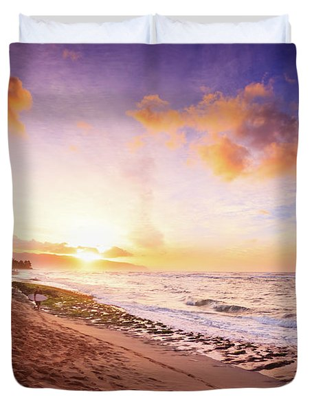 Surfer At Sunset Duvet Cover