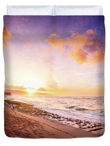 Surfer At Sunset Duvet Cover