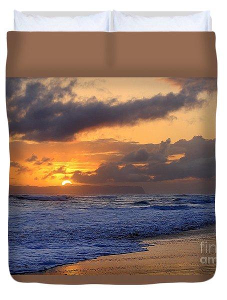 Surfer At Sunset On Kauai Beach With Niihau On Horizon Duvet Cover by Catherine Sherman