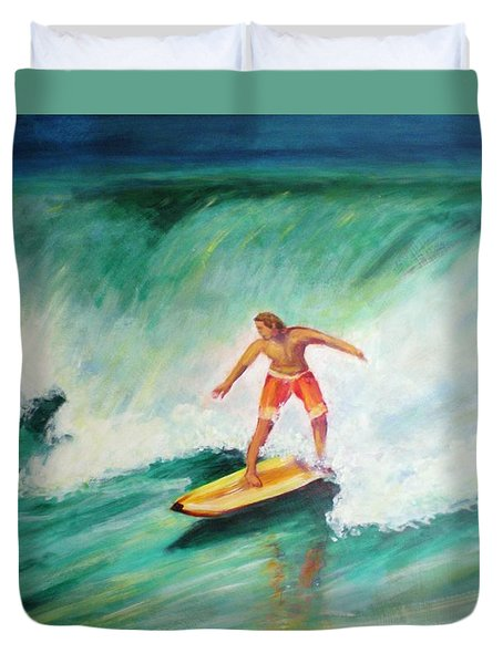 Duvet Cover featuring the painting Surfer Dude by Patricia Piffath