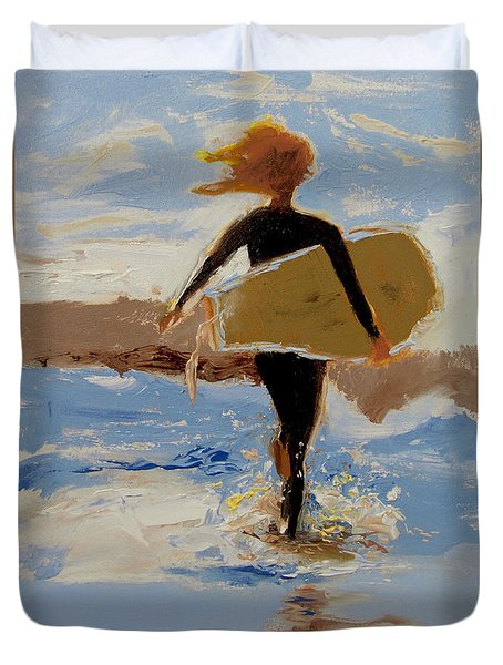 Surfer Girl Duvet Cover by Barbara Andolsek