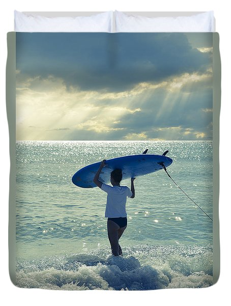 Surfer Girl Duvet Cover by Laura Fasulo