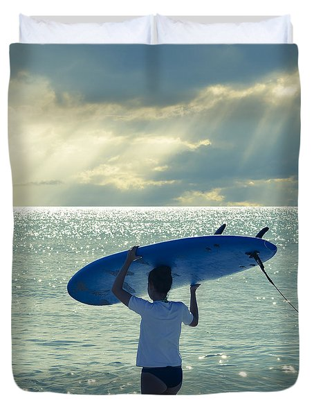 Surfer Girl Square Duvet Cover
