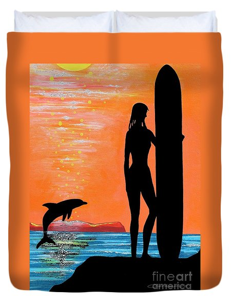 Surfer Girl With Dolphin Duvet Cover