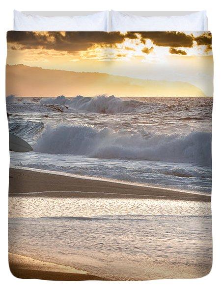 Surfer On Beach Duvet Cover