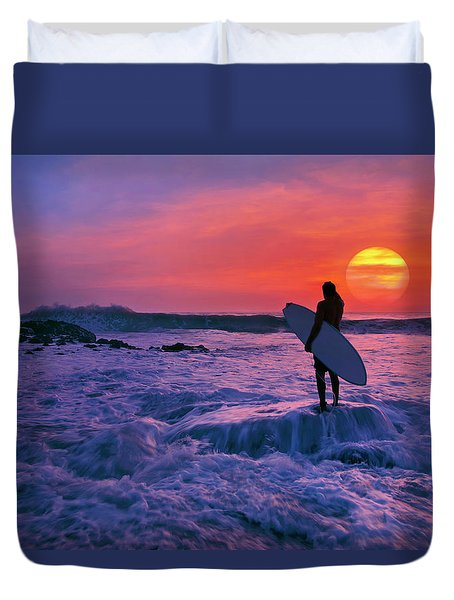 Surfer On Rock Looking Out From Blowing Rocks Preserve On Jupiter Island Duvet Cover by Justin Kelefas