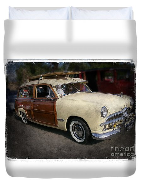 Surfer Wood Panel Car Duvet Cover
