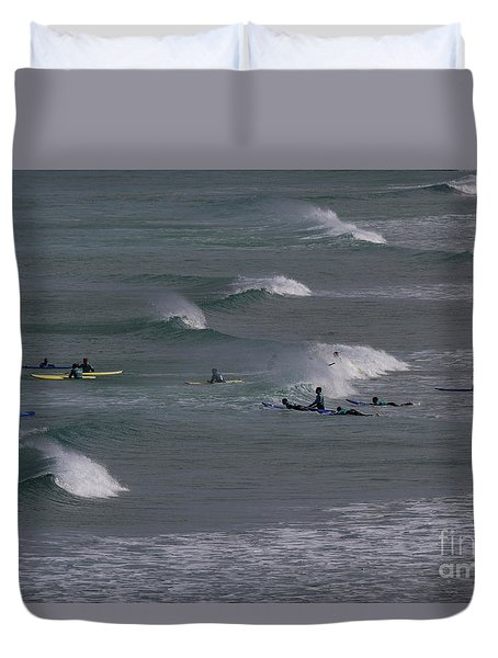 Duvet Cover featuring the photograph Photographs Of Cornwall Surfers At Fistral by Brian Roscorla