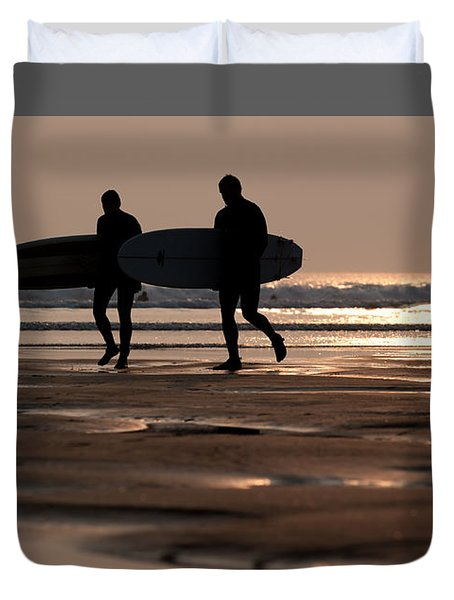 Surfers At Sunset Duvet Cover