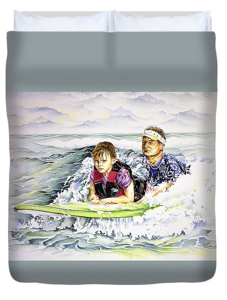 Duvet Cover featuring the painting Surfers Healing by William Love