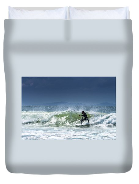 Surfing At Byron Bay Duvet Cover