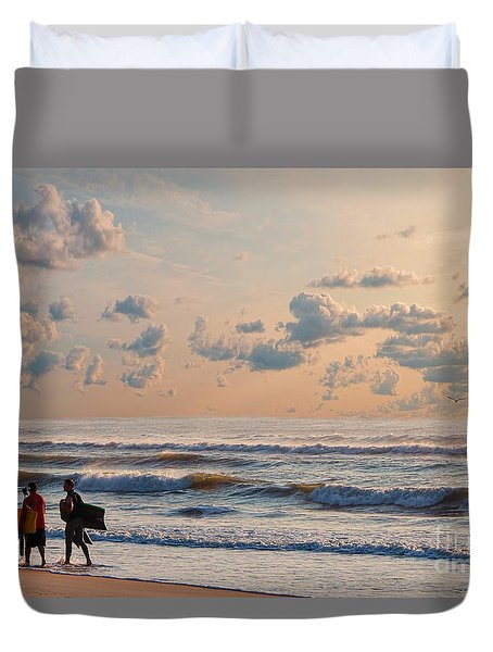 Surfing At Sunrise On The Jersey Shore Duvet Cover