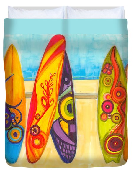Surfing Buddies - Surf Boards At The Beach Illustration Duvet Cover