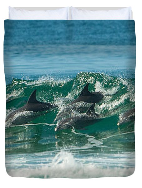 Surfing Dolphins 4 Duvet Cover