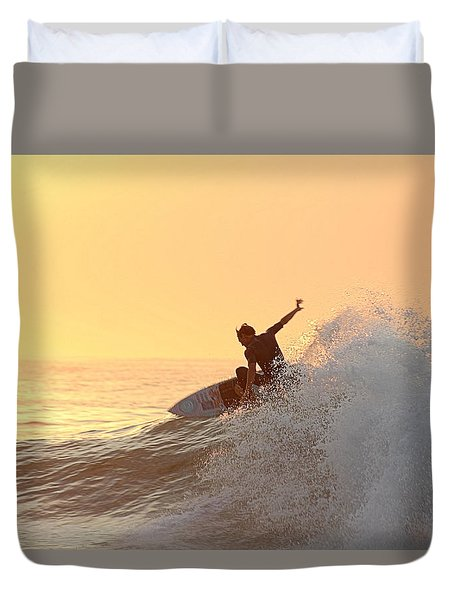 Duvet Cover featuring the photograph Surfing In Golden Sky by Robert Banach