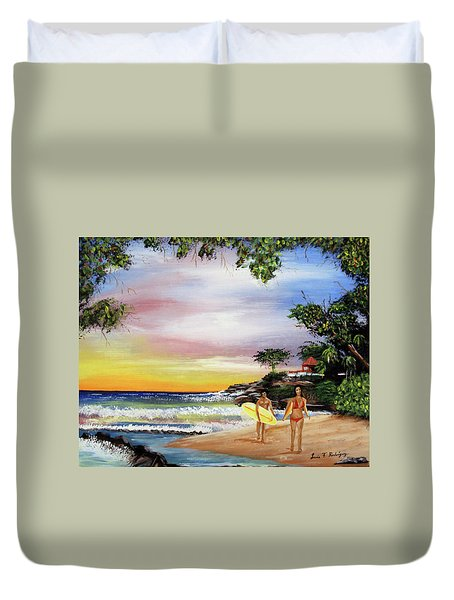 Surfing In Rincon Duvet Cover by Luis F Rodriguez