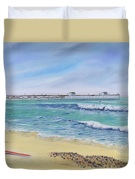 Duvet Cover featuring the painting Surfing In San Clemente by Mary Scott