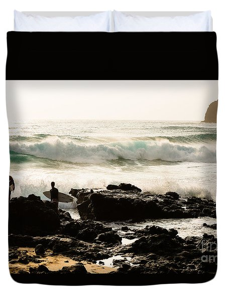 Duvet Cover featuring the photograph Surfing Makapu Beach  by MaryJane Armstrong