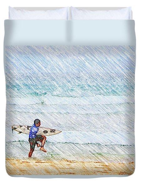 Surfer In Aus Duvet Cover by Daisuke Kondo