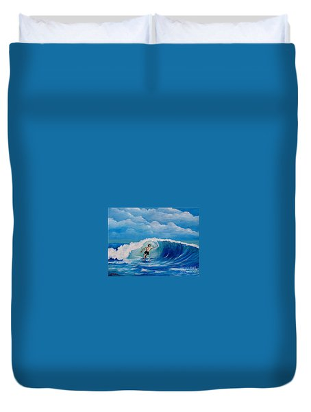 Surfing On The Waves Duvet Cover