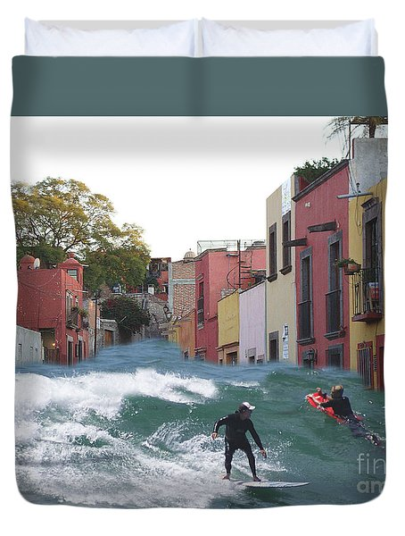 Duvet Cover featuring the photograph Surfing Quebrada by John  Kolenberg