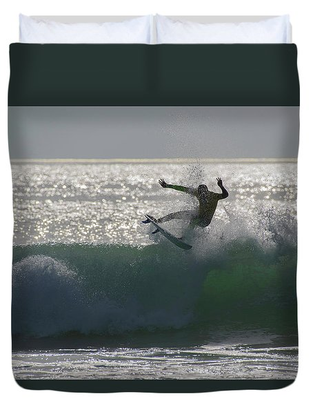 Duvet Cover featuring the photograph Surfing The Light by Thierry Bouriat
