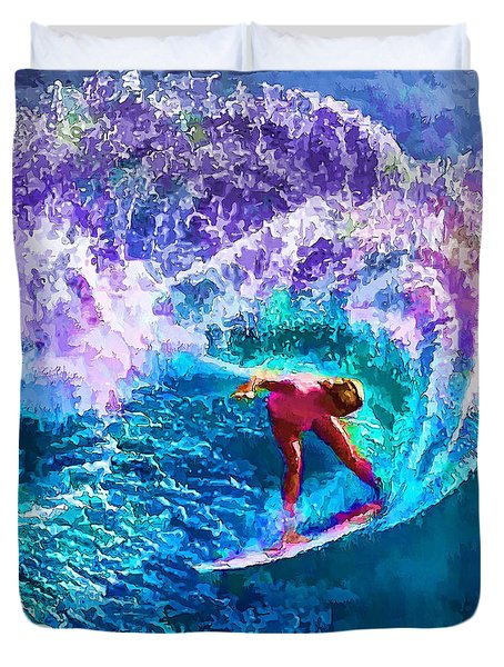 Surfs Like A Girl 1 Duvet Cover by ABeautifulSky Photography