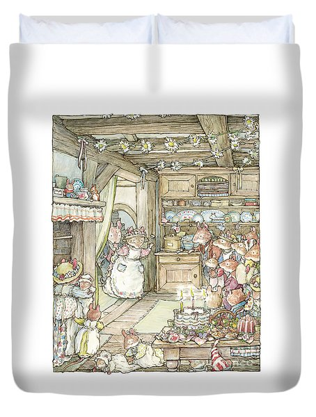 Surprise At Mayblossom Cottage Duvet Cover