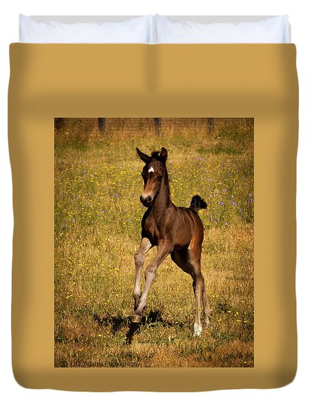 Duvet Cover featuring the photograph Surprise Party by Jim Adams