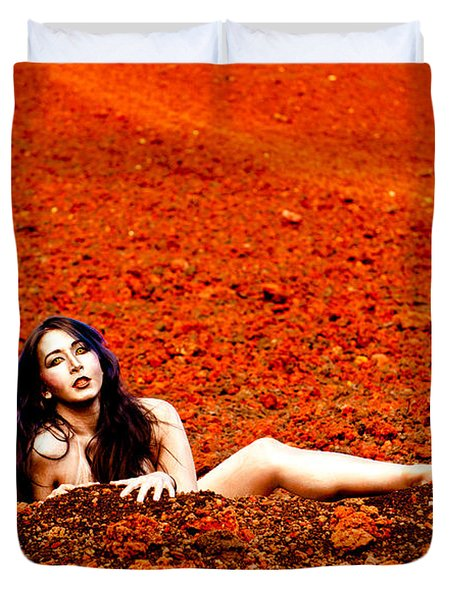 Surprised Martian Hatching Duvet Cover