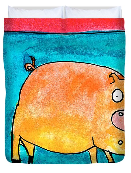 Surprised Pig Duvet Cover