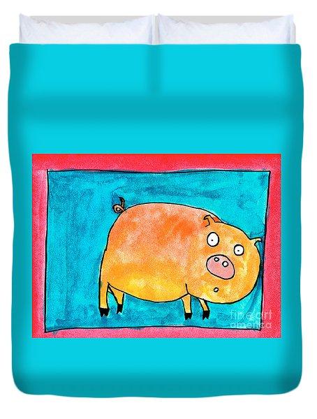 Surprised Pig Duvet Cover