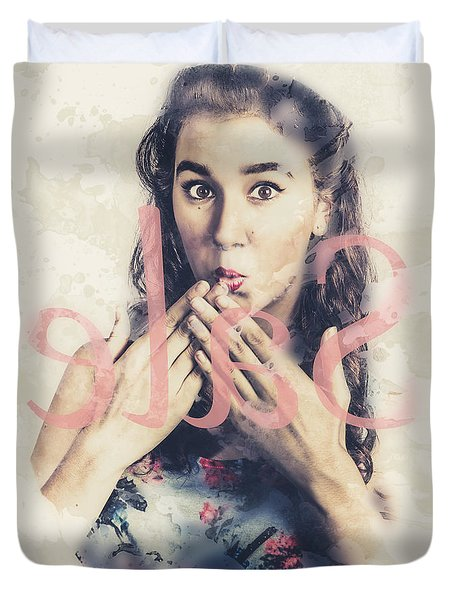 Surprised Pin Up Window Shopper At Store Sale Duvet Cover
