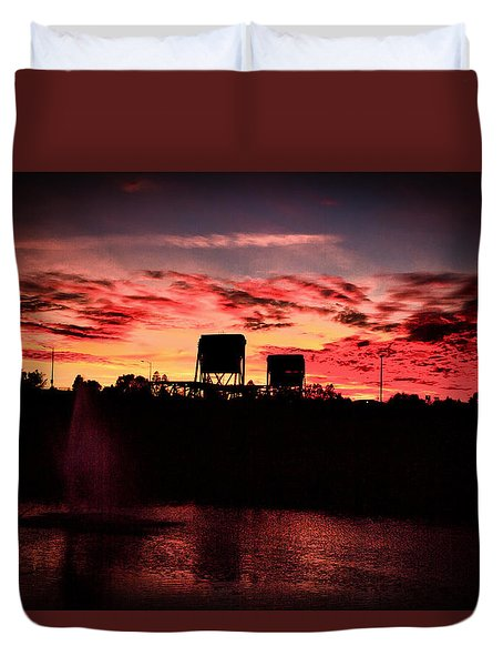 Surreal Bridge And Fountain Duvet Cover