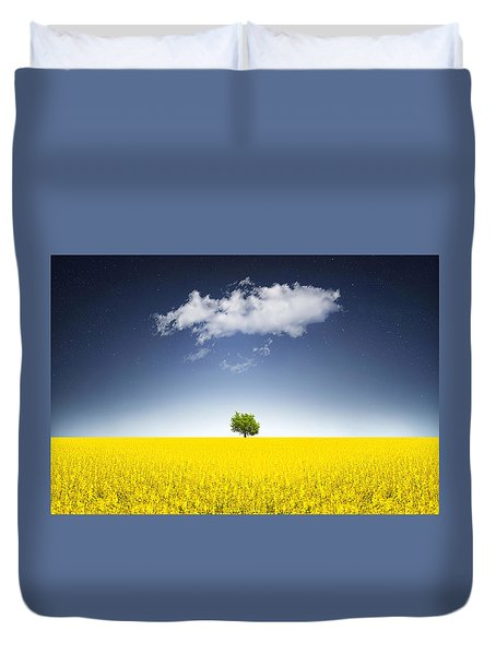 Surreal Canola Field Duvet Cover