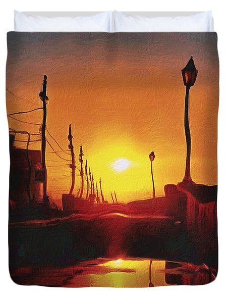 Surreal Cityscape Sunset Duvet Cover by Anton Kalinichev