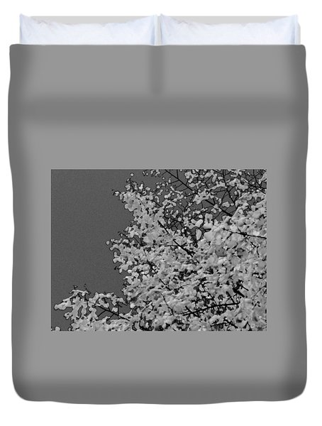 Surreal Deconstruction Of Fall Foliage In Noir Duvet Cover