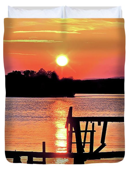 Surreal Smith Mountain Lake Dock Sunset Duvet Cover